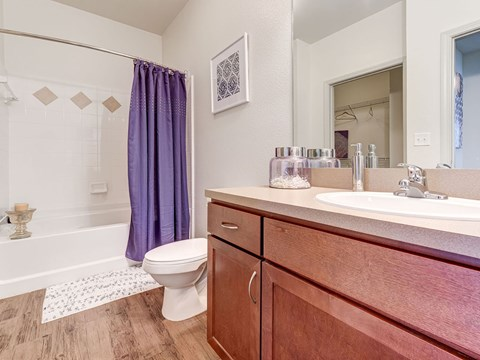 Bathroom with hard wood floors and light brown cabinets